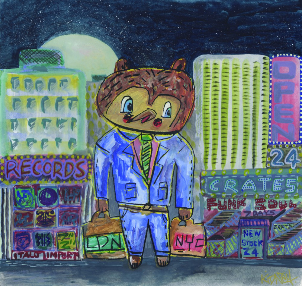 friday bear goes record shopping